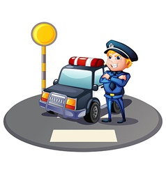 A cop beside a police car with a yellow outpost vector image