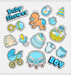 baby shower doodle with boy toys vector image