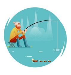 Fishing adult fisherman with fishing rod birds vector