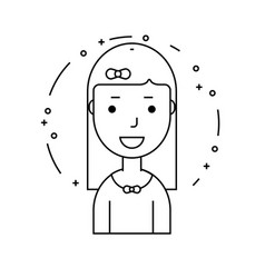 smiling girl character minimalism cartoon flat vector image vector image