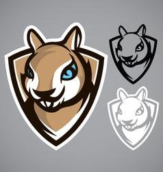 squirrel shield gray logo emblem vector image vector image