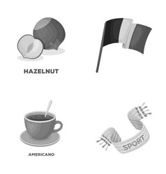 Stadium food and other monochrome icon in cartoon vector