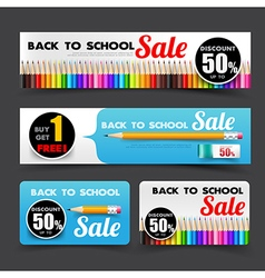 016 Collection of back to school sale with color vector image