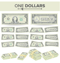 1 dollar banknote cartoon us currency two vector image