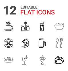 12 restaurant icons vector image