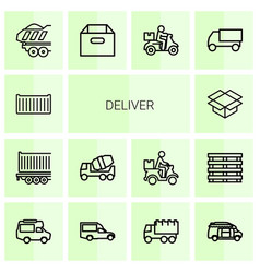 14 deliver icons vector image