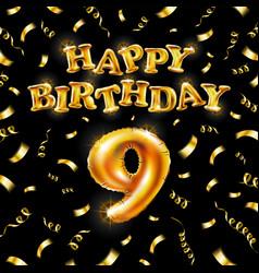 9 happy birthday message made golden vector