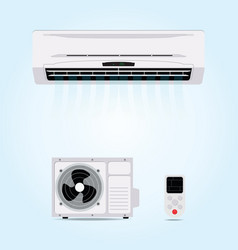 Air conditioner hanging on wall vector