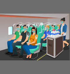 Airplane travel during pandemic vector