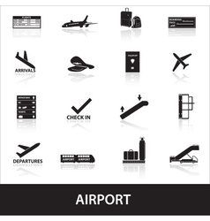 airport icons set eps10 vector image