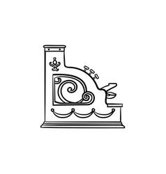 antique cash register machine hand drawn outline vector image