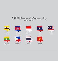 Asean economic community countries flag icons vector