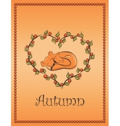 autumn card with fox vector image