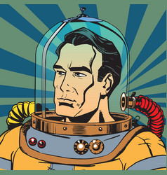 Avatar portrait of a retro astronaut man vector