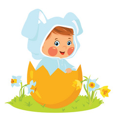 Baby boy wearing easter bunny costume in egg vector