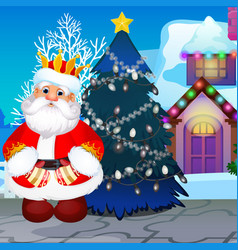 badly decorated christmas tree with not lighted vector image