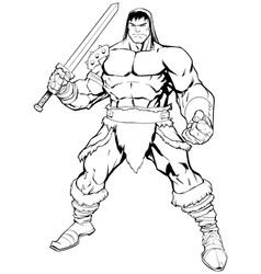 Barbarian on white vector