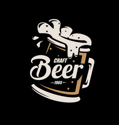 Beer mug stylized symbol in retro style logo vector