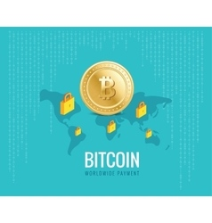 bitcoin worldwide payment with world vector image