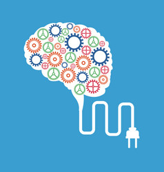 Brain gears plug concept vector