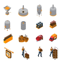 Brewery Isometric Icons Set vector