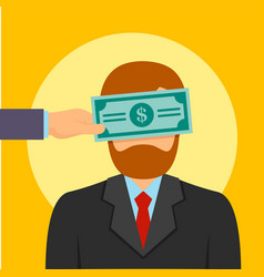 Bribery money close eyes concept background flat vector