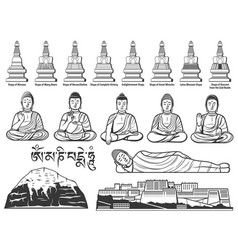 Buddhism religion buddha statue and stupa sketches vector