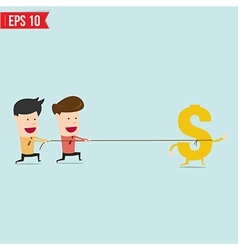 Businessman pulling along a gold dollar vector image