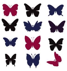 butterflies silhouette vector image