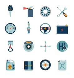 Car parts icons flat vector