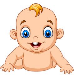 cartoon happy baby learn to crawl vector image