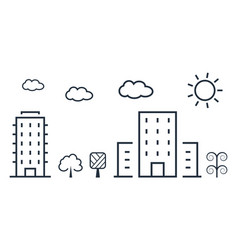 city in thin line style vector image