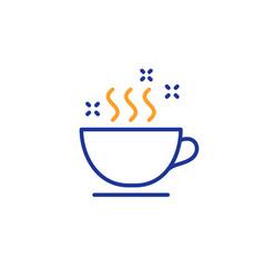 Coffee cup line icon hot cappuccino sign tea vector