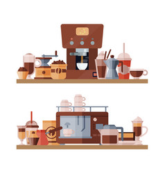 coffee elements shelf vector image