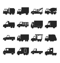Collection of silhouette truck icons in flat style vector