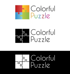 Colorful puzzle logo vector