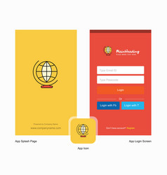 company world globe splash screen and login page vector image