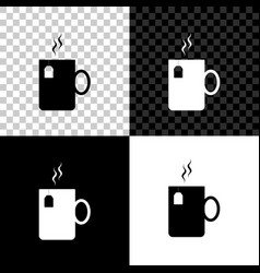 cup tea with tea bag icon isolated on black vector image
