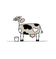 Cute cow with bucket of milk sketch vector