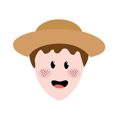 cute man face with hat vector image