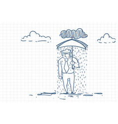 Desperate businessman under rain holding umbrella vector