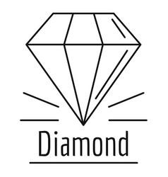diamond stone logo outline style vector image