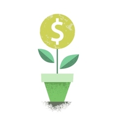 Dollar plant in the pot Financial growth concept vector image