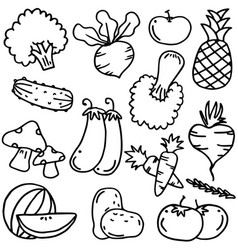 Doodle with hand draw vegetables vector