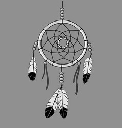 Dream catcher outline and greyscale vector