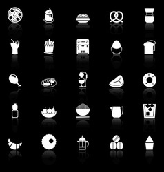 Easy meal icons with reflect on black background vector