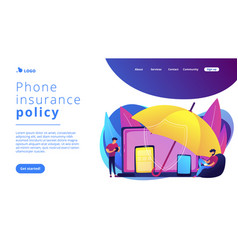 Electronic device insurance concept landing page vector