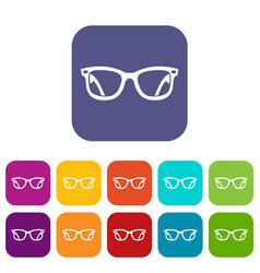Eyeglasses icons set vector