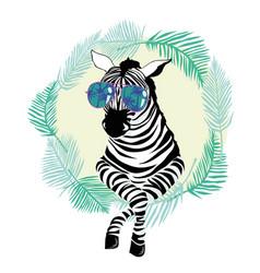 Fashion portrait of funky zebra vector