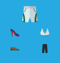 Flat icon clothes set of trunks cloth heeled shoe vector